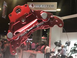 Meritor's new air disc brake designed for linehaul applications is dramatically displayed.