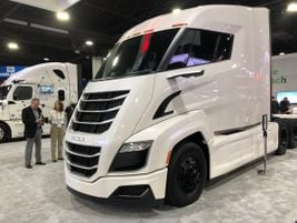 """Nicknamed """"The Stormtrooper"""" for obvious reasons, this Nikola One hydrogen-powered tractor..."""