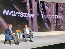 Navistar President and CEO Troy Clarke and Traton CEO Andreas Renschler discuss the progress of...