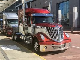 Line of snazzy trucks greets NACV Show attendees outside Atlanta convention center.