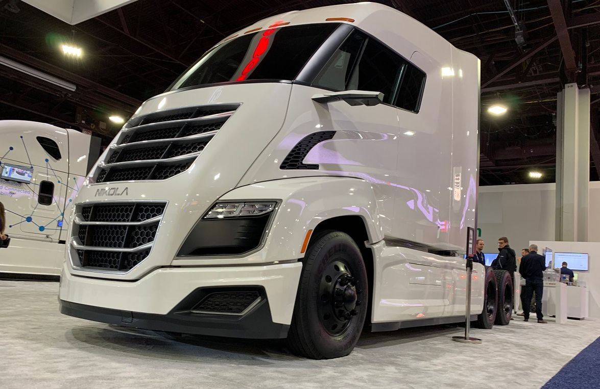 Nikola hydrogen electric truck on display at Bosch booth.