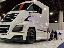 Nikola hydrogen electric truck on display at Bosch booth.