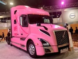A standout in the Volvo Trucks booth is this VNL 760 tractor all dressed up in pink as a...