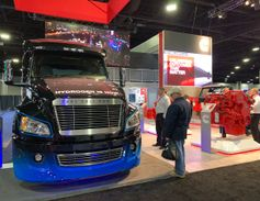 "Citing its legacy as a ""power company,"" Cummins displayed a hydrogen fuel cell truck as a..."