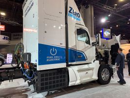 Kenworth displayed one of the 10 zero-emission T680s it's building powered by Toyota hydrogen...