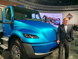 Navistar unveiled an International prototype electric truck, a battery-electric drive version of...