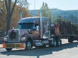 The tree was uncovered for the final leg of the journey to the U.S. Capitol.