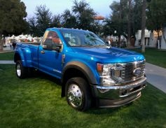 A Ford F-250 Dualie graces the entrance to cocktail hour at the launch of the trucks in...