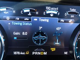 Close-up view of the 2020 Ford Super Duty Towing Status display screen on the dash. Note the...