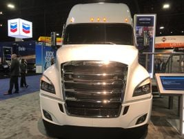 This frost white Freightliner Cascadia is all business and ready to roll at the 2020 TMC Annual...