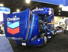 Chevron's interactive booth on the TMC show floor featured this working Peterbilt that doubles...