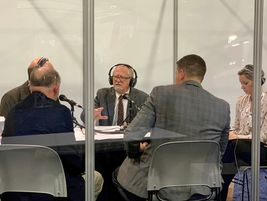 Dave Nemo broadcasting his Sirius XM radio show live from the TMC show floor Wednesday morning.