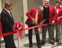 2020 TMC Chairman Ken Calhoun cuts the ribbon officially opening the trade show floor in...