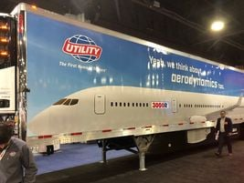 Utility Trailers promoted recent aerodynamic enhancements in its booth at TMC.