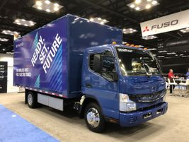 Fuso had two eCanter trucks at the show, one doing booth duty, the other was outside available...