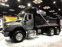 Internation's HV model equipped with a dump body is powered by an A26 engine and an Allison 4000...