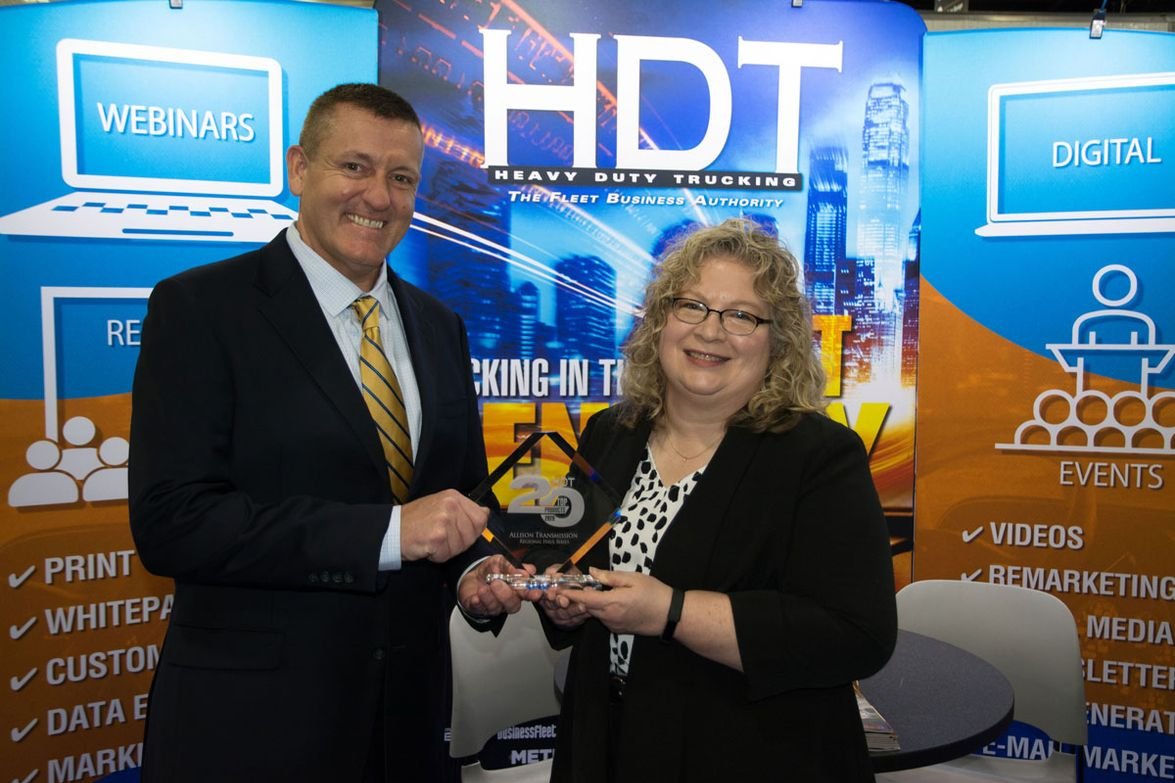 Bob McGowan, managing director, regional sales, accepts the HDT Top 20 Products award for the...