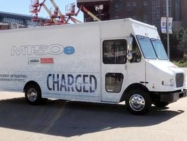 Freightliner Custom Chassis Corp.'s new all-electric MT50e walk-in is equipped with Proterra's...