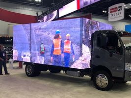 "Hino's ""virtual box"" truck delivered an eyeful of moving pictures."