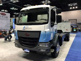 Peterbilt displayed its battery electric Model 220EV cabover, which is powered by a Dana TM4...