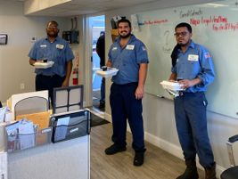 At West Palm Beach fleet services, supervisors chipped in and bought lunch for the department....