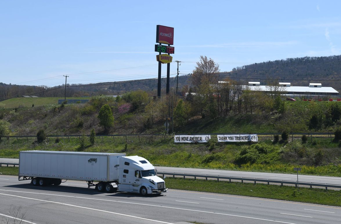 Banners at truck stops show appreciation to drivers.