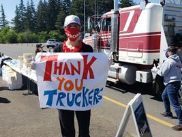Many organizations and companies organized events handing out free food to truckers.