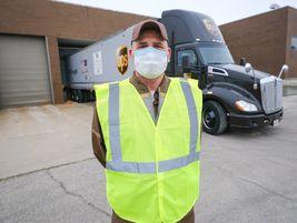 UPS Driver Kerry Vannada at the General Motors Manufacturing Facility in Kokomo, Indiana,...