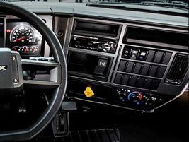 The dashboard is a notch up from some other sparse medium-duty cabs. It's much the same as the...