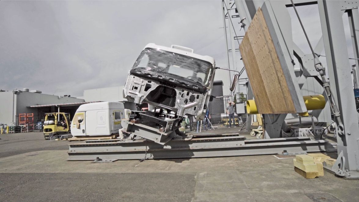 The Western Star 49X was tested at the structures lab at DTNA, including this cab-crush test.