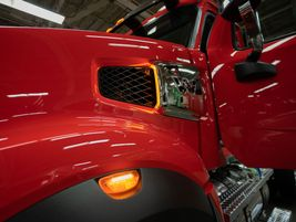 Composite hood construction on the Western Star 49X offers strength, greater impact-resistance,...