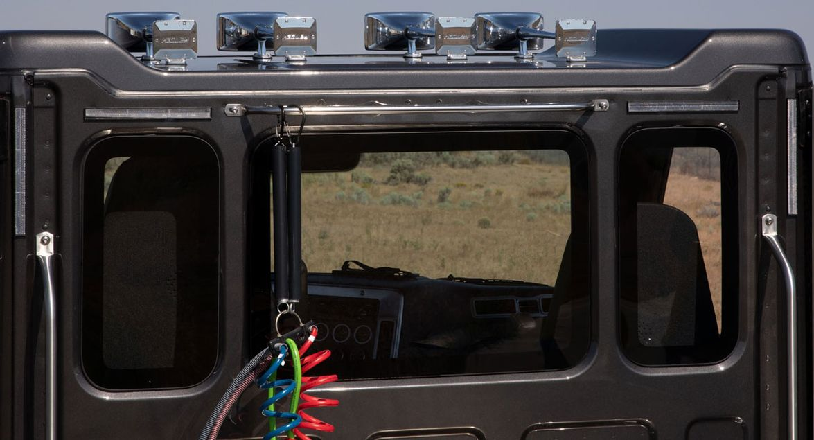 From the back of the Western Star 49X cab, you can see the three-piece windshield and the way...