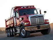 The Western Star 49X, available with a set-forward axle, is lighter than the 4900 for more payload.