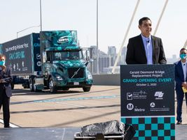 Long Beach Mayor Robert Garcia dedicated the Port of Long Beach's new cable-stayed bridge before...