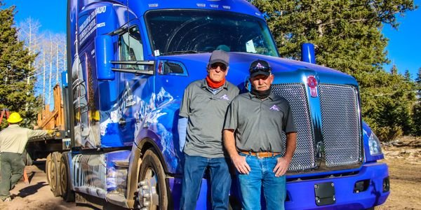 U.S. Capitol Christmas Tree Tour drivers William 'Butch' Hanna (right) and Theron Schmalzried...