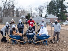 Employees of Bestpass in Albany, New York, volunteered to build garden beds for a regional...