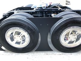A detail shot of the new tandem axle aerodynamic fairings on the Peterbilt New Model 579 tractor.