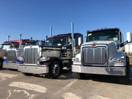 Long-nose, conventional, Peterbilt tractors await their new owners on the backlot of Peterbilt's...