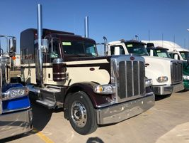 A Peterbilt Model 357 awaits its journey to its new owner.