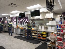 The building includes a cafeserving 2,500 meals each week.