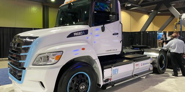 Hino's battery-electric truck at ACT Expo. It also showed off a fuel-cell truck.