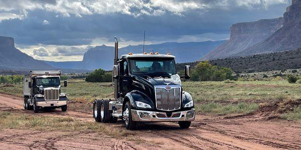 Rough terrain is no problem for Peterbilt Model 567 and 579 trucks.