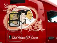 """CFI's """"She Drives CFI"""" trucks honor longtime women drivers and help promote trucking as a career..."""