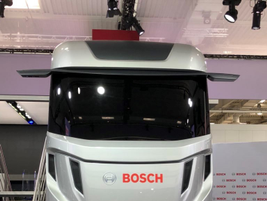 This Bosch concept truck, displayed at the IAA Show in Hannover, Germany, was packed with the...