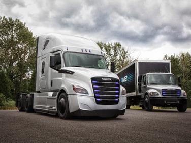 Freightliner Trucks showcased thefirst generation eCascadia and eM2 test vehicles.