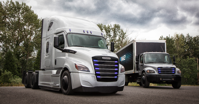 Freightliner Trucks showcased the first generation eCascadia and eM2 test vehicles.