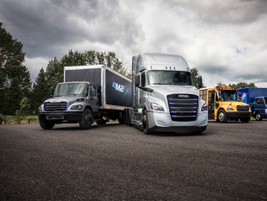 Daimler Trucks' commercial electric vehicle line-up on display (from left to right):...