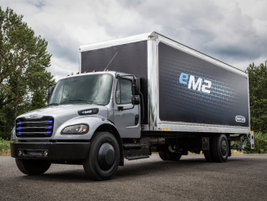 The Freightliner eM2 106 has 480 peak horsepower and a range of up to 230 miles.
