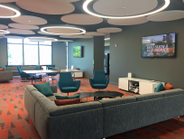 Many open areas throughout the building allow for collaboration.