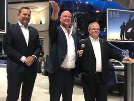 After formal remarks, Volvo Trucks North America executives express how much they welcome...